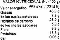 Anacardo crudo ecólogico - Información nutricional