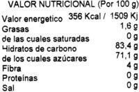 Arándanos rojos deshidratados - Información nutricional