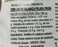 Frutos secos crudos 100% natural - Informació nutricional - es