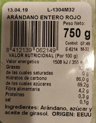 Fruta desecada: arándano - Nutrition facts