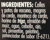 Callos - Ingrediënten - es