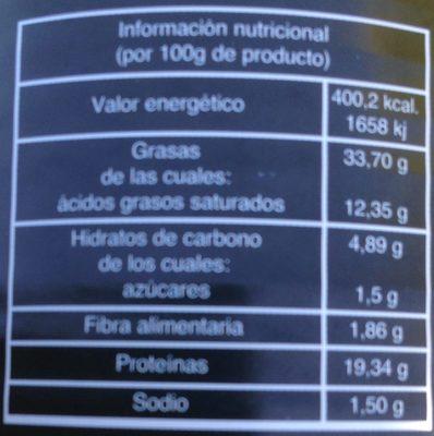 Chorizo Extra - Informació nutricional - es
