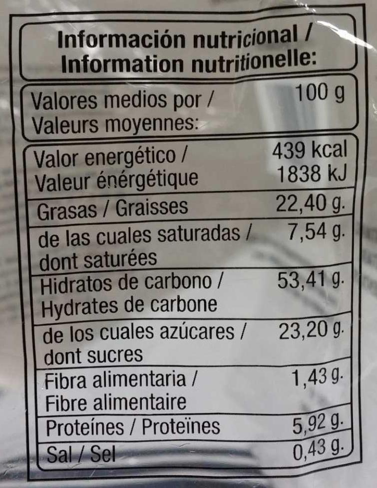 Madeleines Espagnoles - Información nutricional