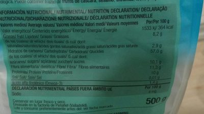 Muesli Con Frutas 500 GR - Nutrition facts - fr