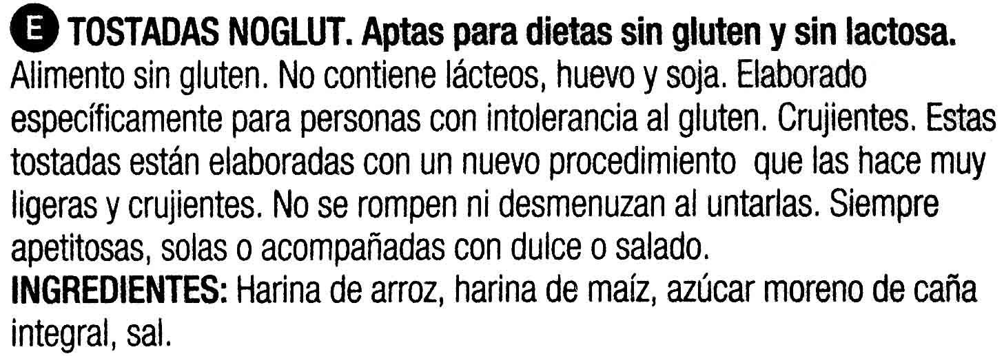 Noglut tostadas ligeras sin gluten y sin lactosa - Ingredients - es