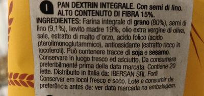 Pan integral dextrin con semillas de lino - Ingrédients