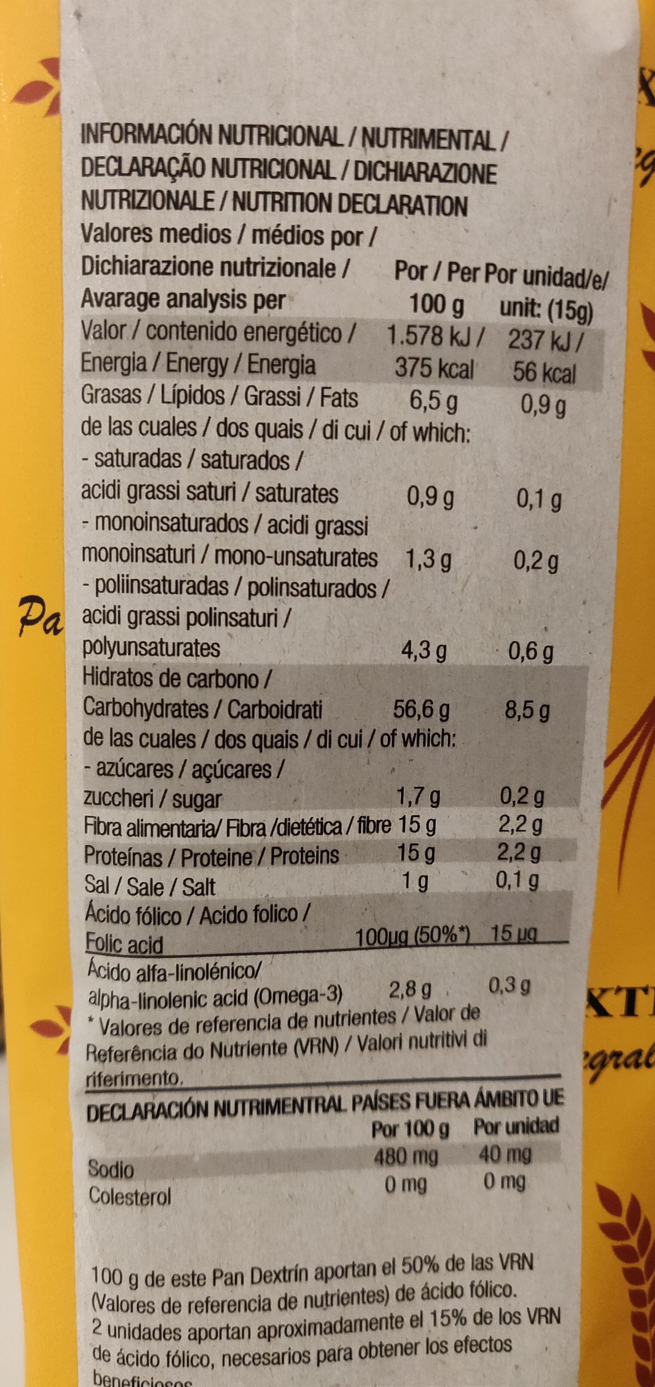 Pan integral dextrin con semillas de lino - Informations nutritionnelles