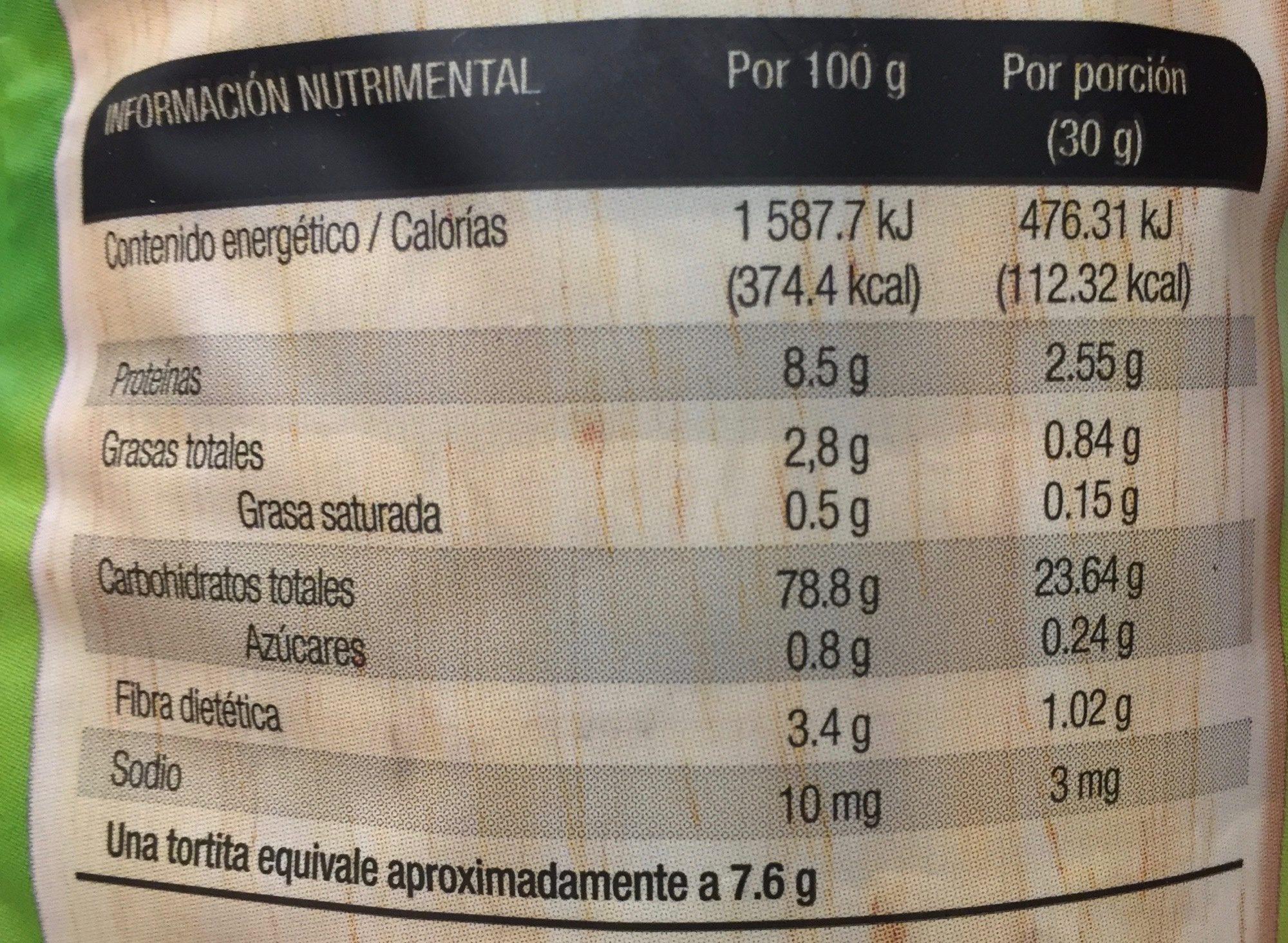 Tortita arroz integral sin sal - Nutrition facts - es