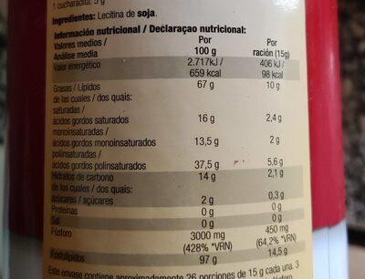 Lecitina de soja granulada para el colesterol - Nutrition facts