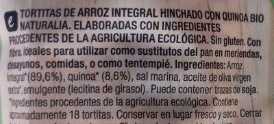 Tortitas de Arroz Integral con Quinoa - Ingredientes