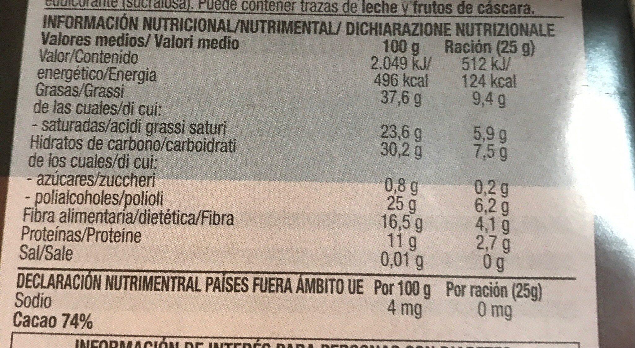 Chocolate negro cacao sin gluten y sin azúcares añadidos - Informació nutricional - es