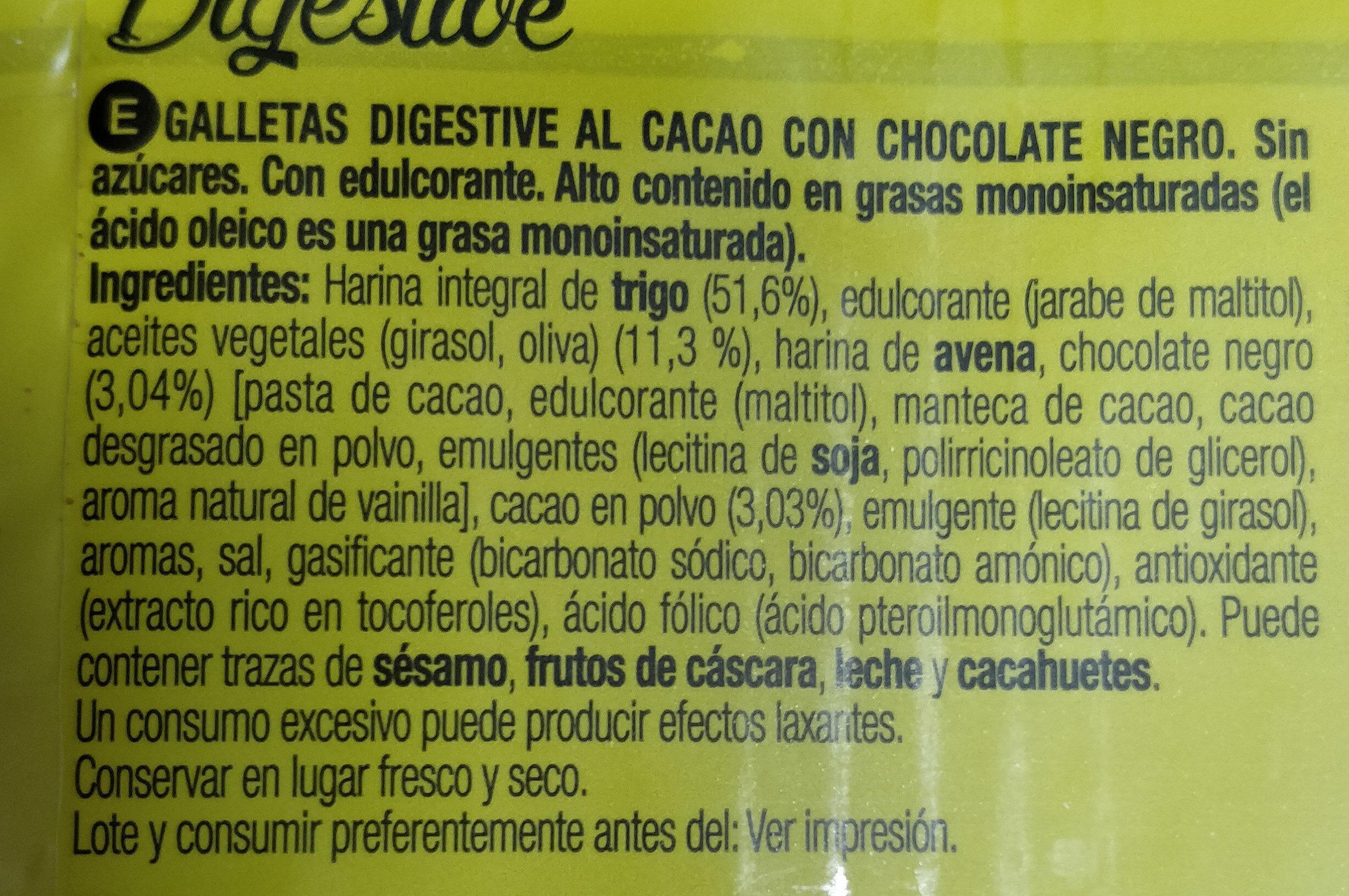 Galletas digestive 0% azúcares cacao - Ingrediënten