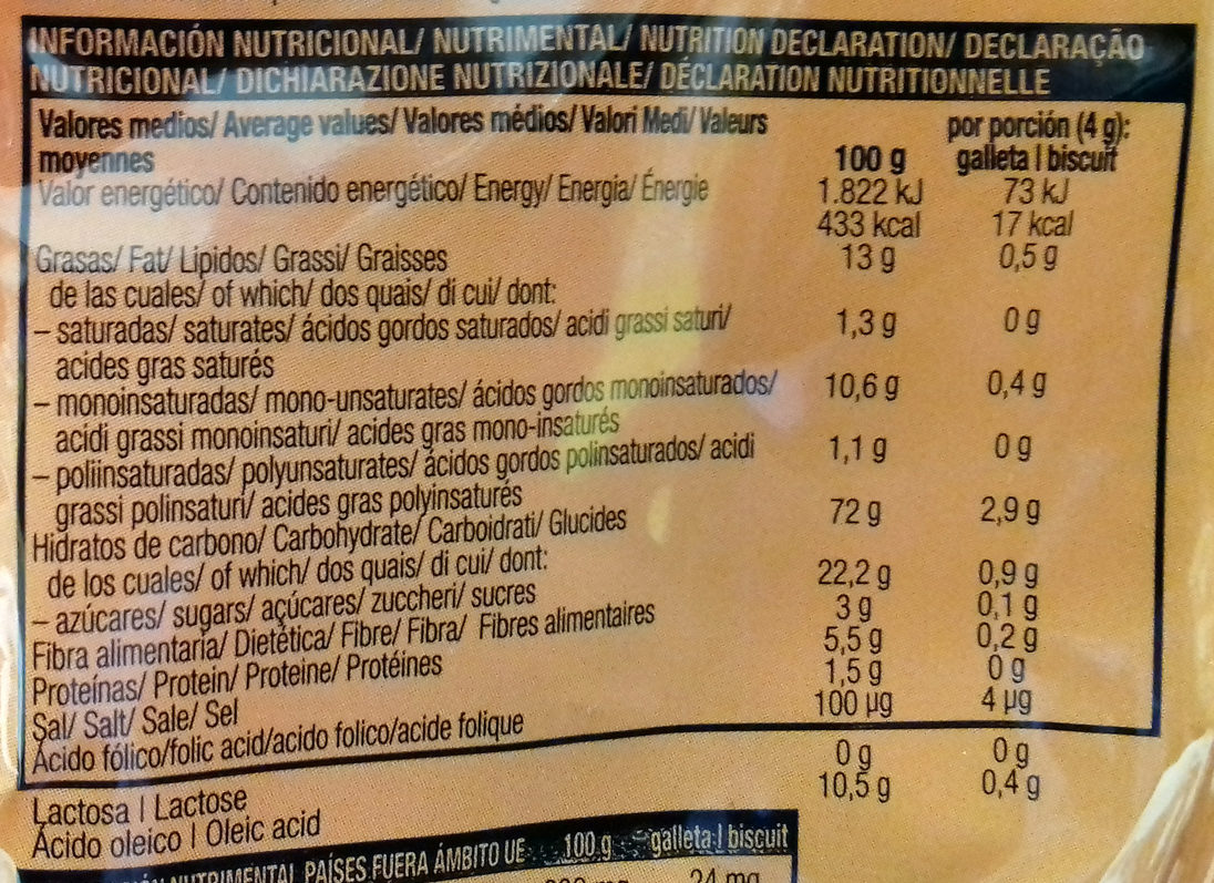 Galletas de la Jungla sin gluten y sin lactosa - Información nutricional