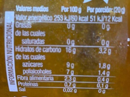 Mermelada de albaricoque con stevia sin azúcares añadidos - Nutrition facts