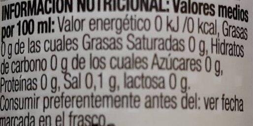 Stevia liquida - Información nutricional - es