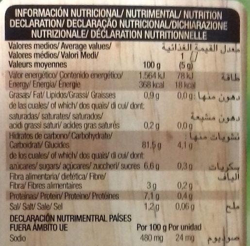Organic bio tostadas crujientes con cebolla ecológicas - Informations nutritionnelles - es