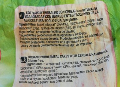 Bio tortitas de cereales con trigo sarraceno y quinoa - Ingredients - en