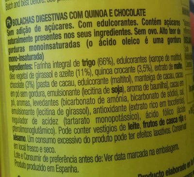 Galletas digestives quinoa choco - Ingredientes