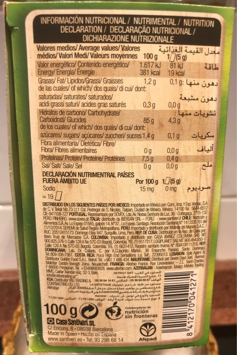 Tostadas crujientes de cúrcuma y jengibre - Informations nutritionnelles - es