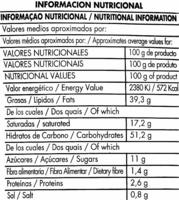 """Mezcla de vegetales fritos """"Aperitivos Gancedo"""" - Informació nutricional"""