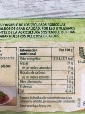 Caldo Vegetal Knorr - Información nutricional