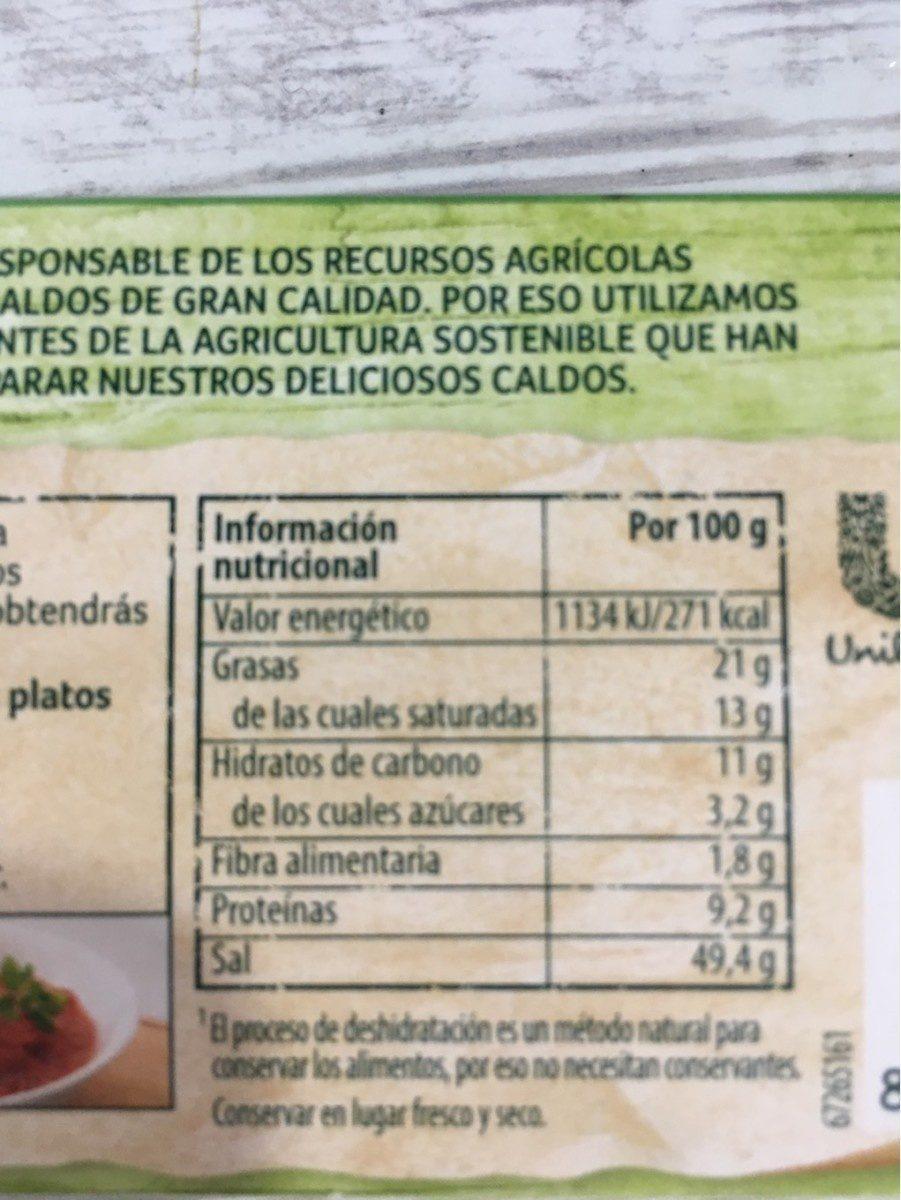 Caldo vegetal con un toque de aceite de oliva virgen extra 12 pastillas paquete 120 g - Información nutricional - fr