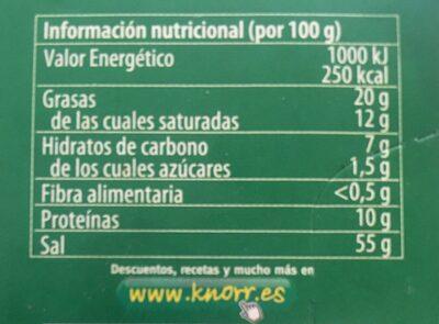 Knorr Doble caldo - Voedigswaarden