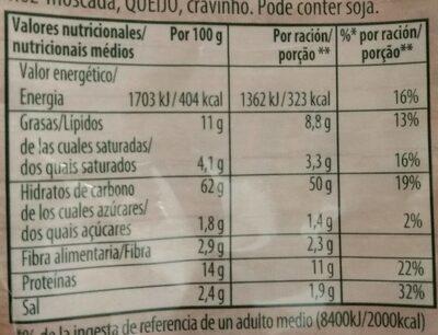 Tortellini de carne - Informació nutricional - es