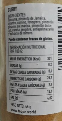 Curry - Nutrition facts