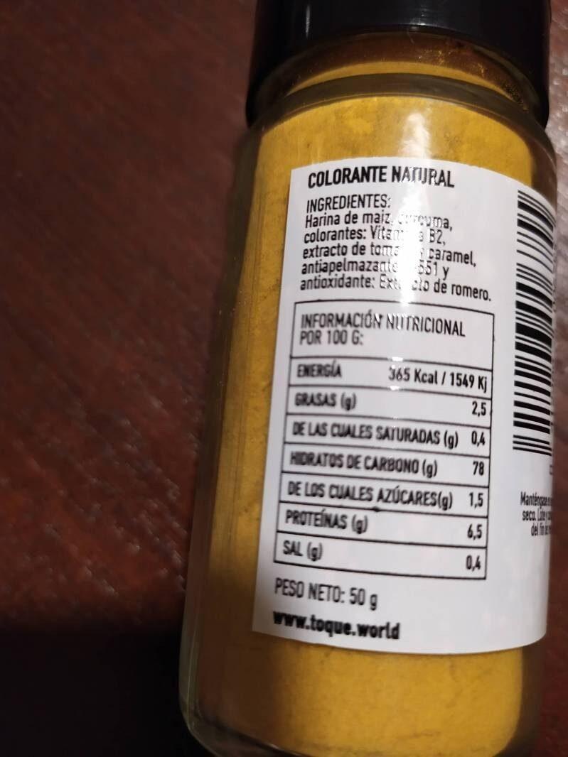 Colorante Natural - Informació nutricional - es
