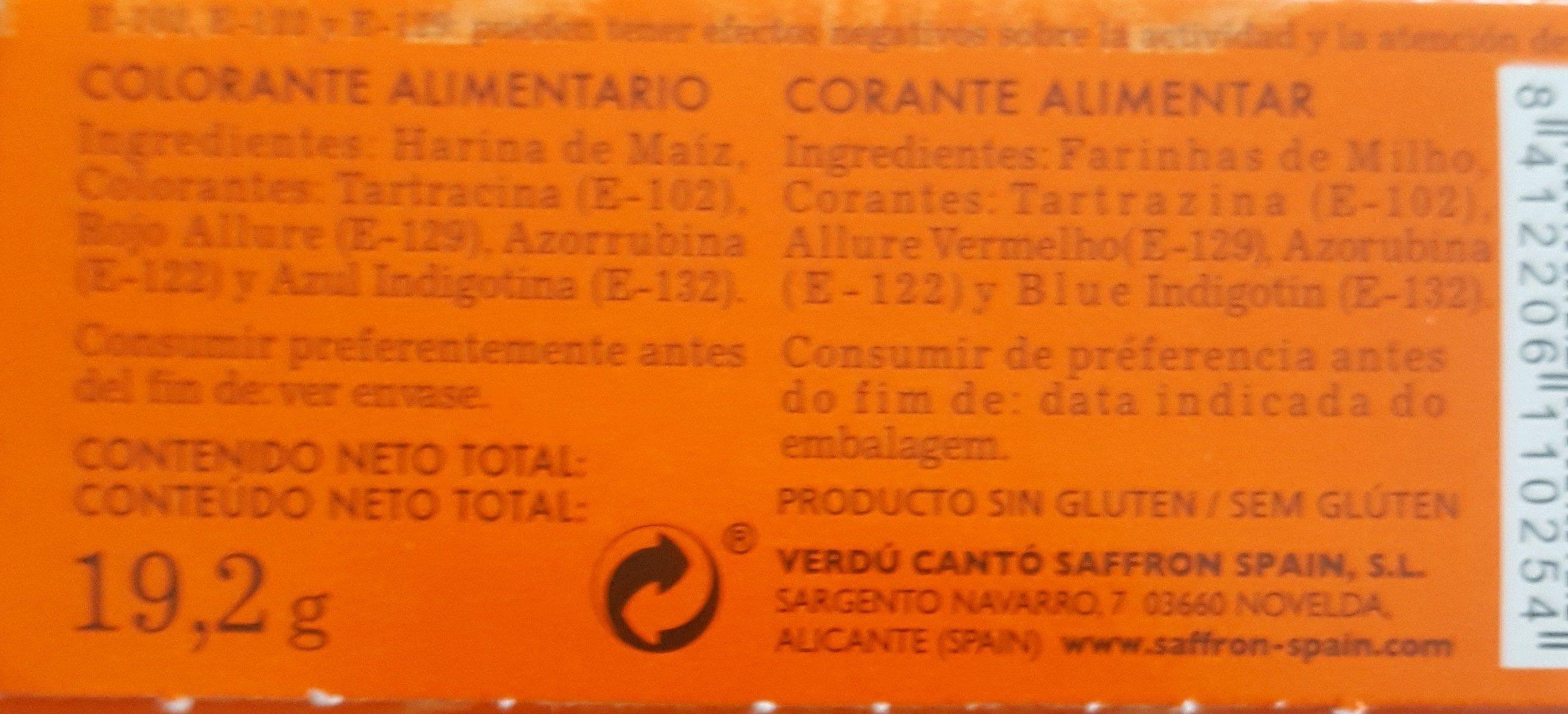 Colorante Alimentario - Ingredients