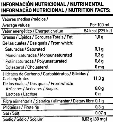 Bebida de arroz Integral Biológica - Nutrition facts