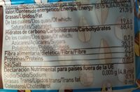 Barquillos rellenos con Cacao - Informations nutritionnelles