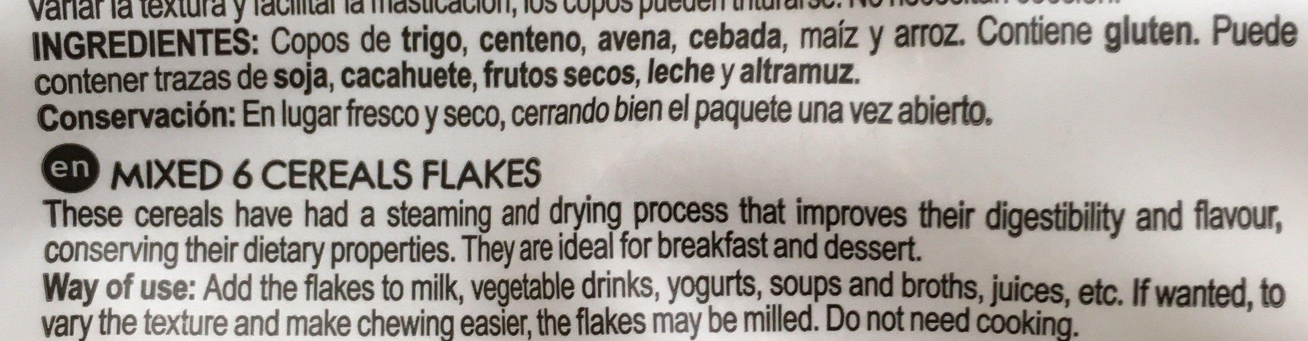 Diet Radisson Copos De 6 Cereales - Ingredientes - es