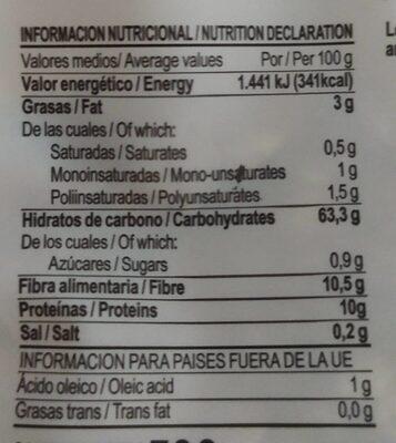 Diet Radisson Copos De 6 Cereales - Información nutricional - es
