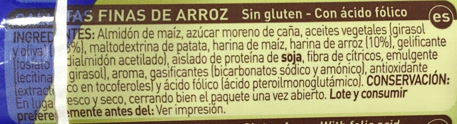 Galletas finas de arroz sin gluten - Ingredients - es