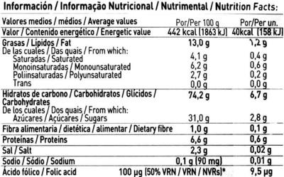 Galletas finas de arroz sin gluten - Información nutricional - es
