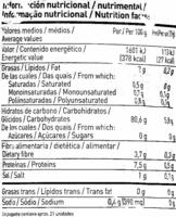 Tortitas de arroz integral - Información nutricional