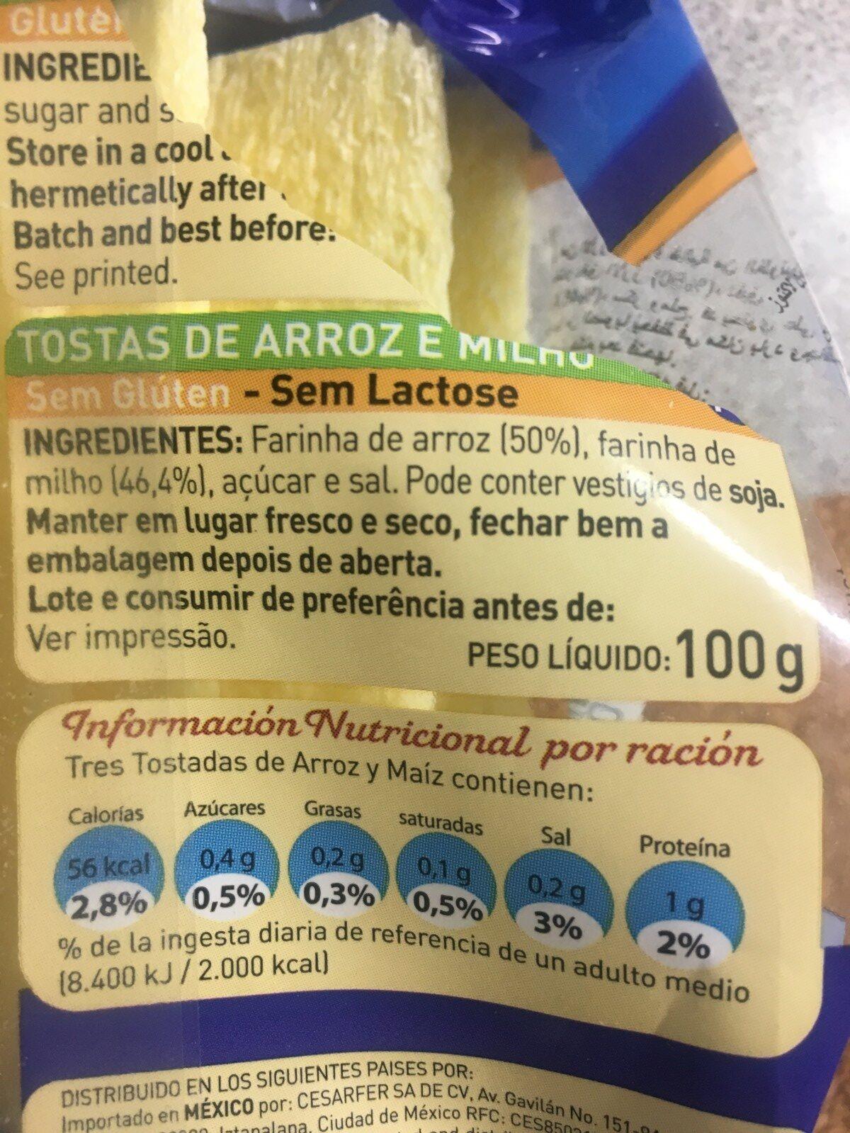Tostadas de arroz y maíz - Ingrédients - fr