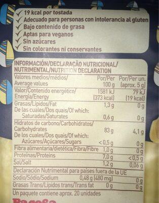Tostadas de arroz y maíz - Informations nutritionnelles - es