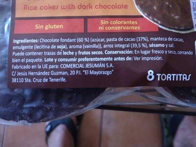 Tortitas de arroz con chocolate fondant - Ingredienti - es