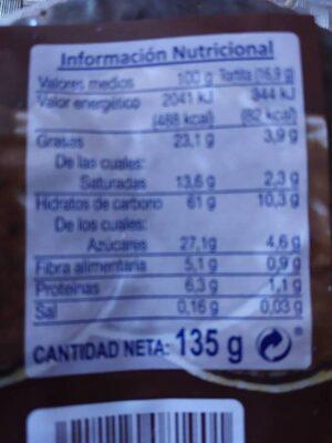 Tortitas de arroz con chocolate fondant - Valori nutrizionali - es