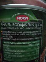 Piña natural en su jugo sin azúcar añadido - Informations nutritionnelles - es