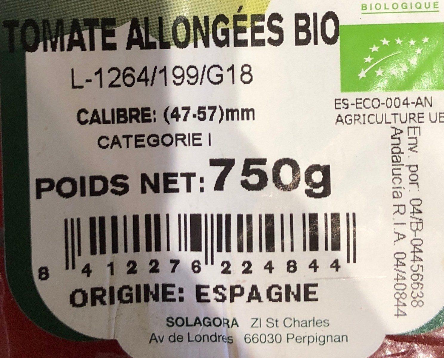 Tomate allongée Bio, catégorie 1 - Ingrédients - fr