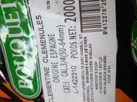 Clémentines - Ingrédients