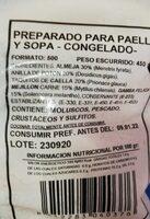 Preparado para paella y sopa - Nutrition facts - es
