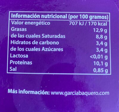 Queso fresco Sin Lactosa - Nutrition facts