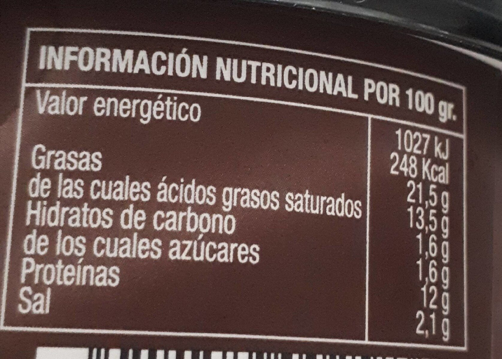 Crema de queso de Oveja - Informations nutritionnelles