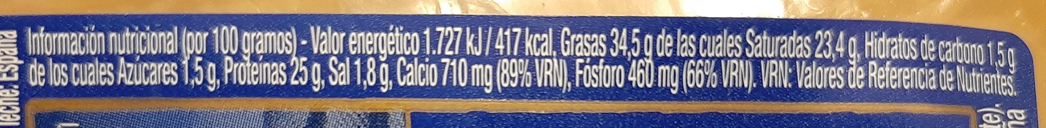 Fromage semicurado - Información nutricional - es