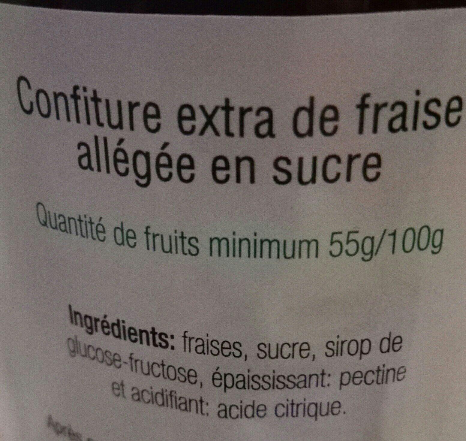 Confiture extra de fraise allegée en sucre - Ingrediënten - fr